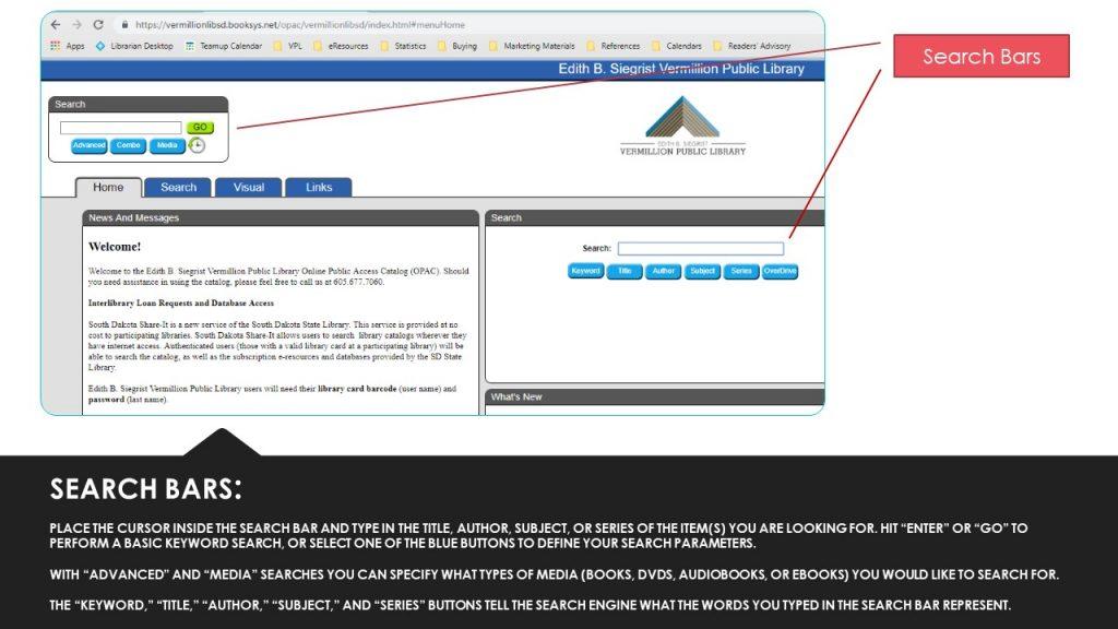 Using the Online Catalog   Edith B  Siegrist Vermillion Public Library