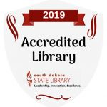 Badge for accreditation by the South Dakota State Library.