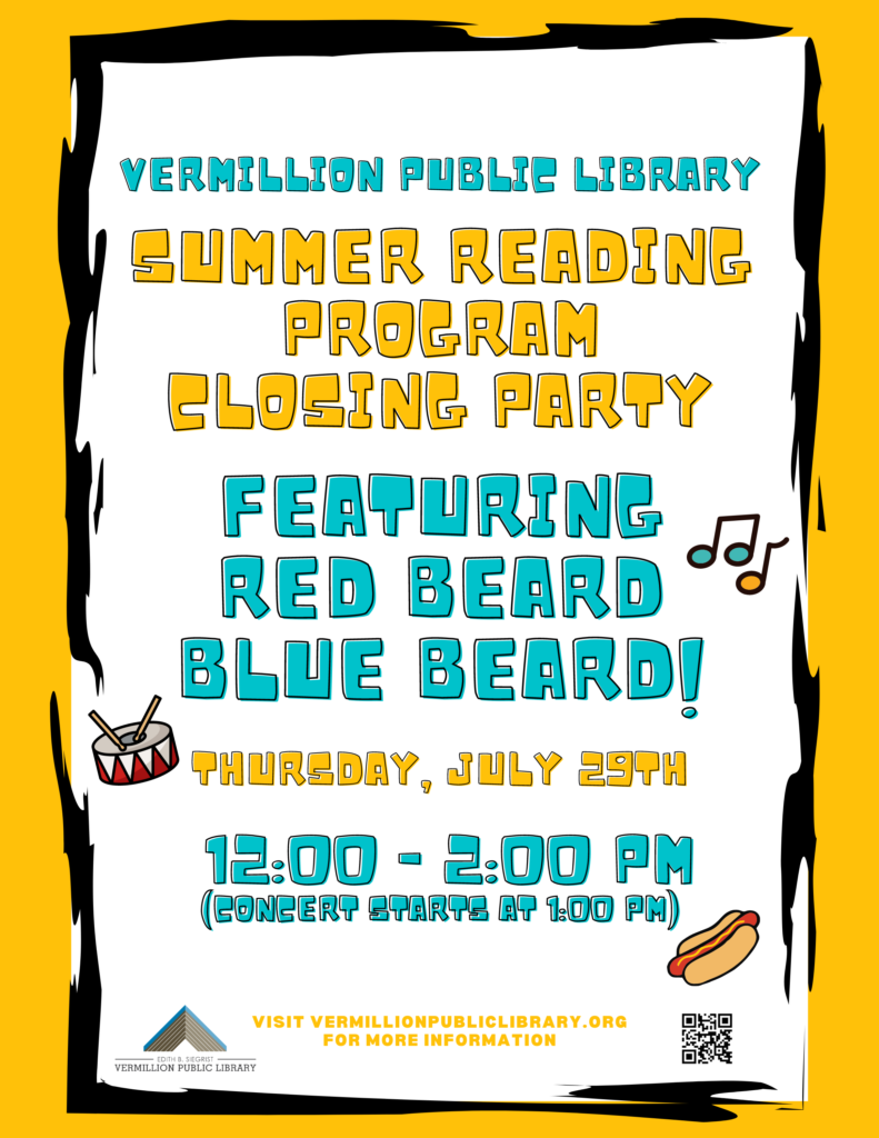 Poster for Summer Reading Program end party.